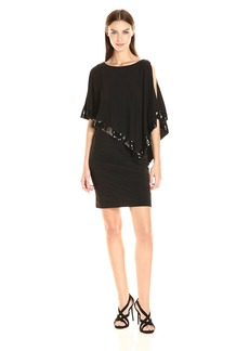 Adrianna Papell Women's Banded Dress with Capelet and Beading