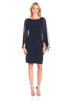 Adrianna Papell Women's Banded Dress with Chiffon Cape and Beaded Neck