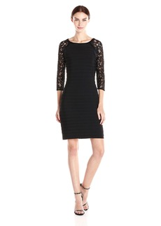 Adrianna Papell Women's Banded Dress with Lace Sleeve