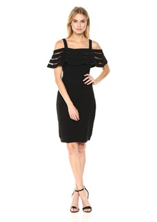 Adrianna Papell Women's Banded Off Shouder Sheath Dress