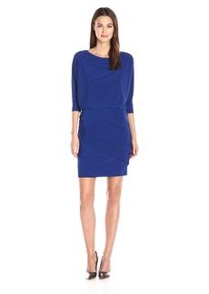 Adrianna Papell Women's Banded Skirt Bluson Matte Jersey Dress