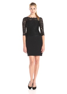 Adrianna Papell Women's Bateau Neck Long Sleeve Lace Overlay Dress