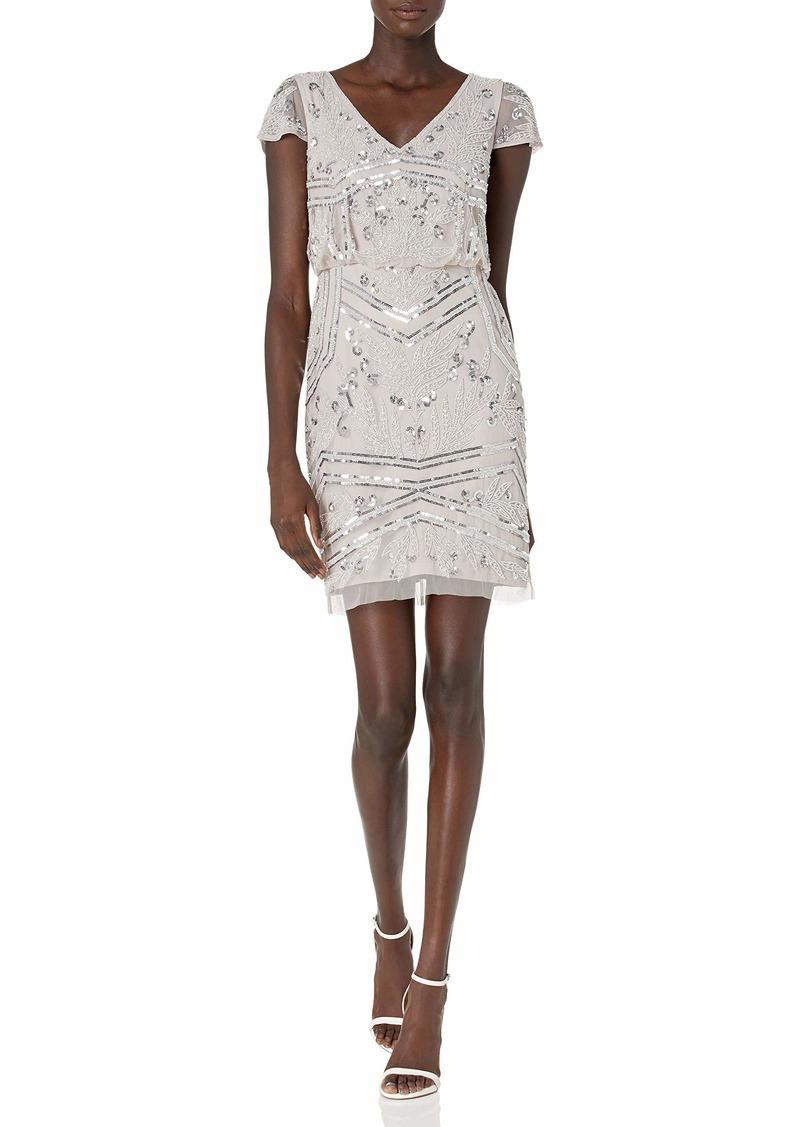 Adrianna Papell Women's Bead Blouson Dress MARBLE