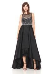 Adrianna Papell Women's Bead Bodice Gown with Taffetta Hi Ow Hem