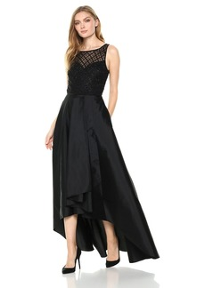 Adrianna Papell Women's Bead Bodice Hi Low Taffetta Dress