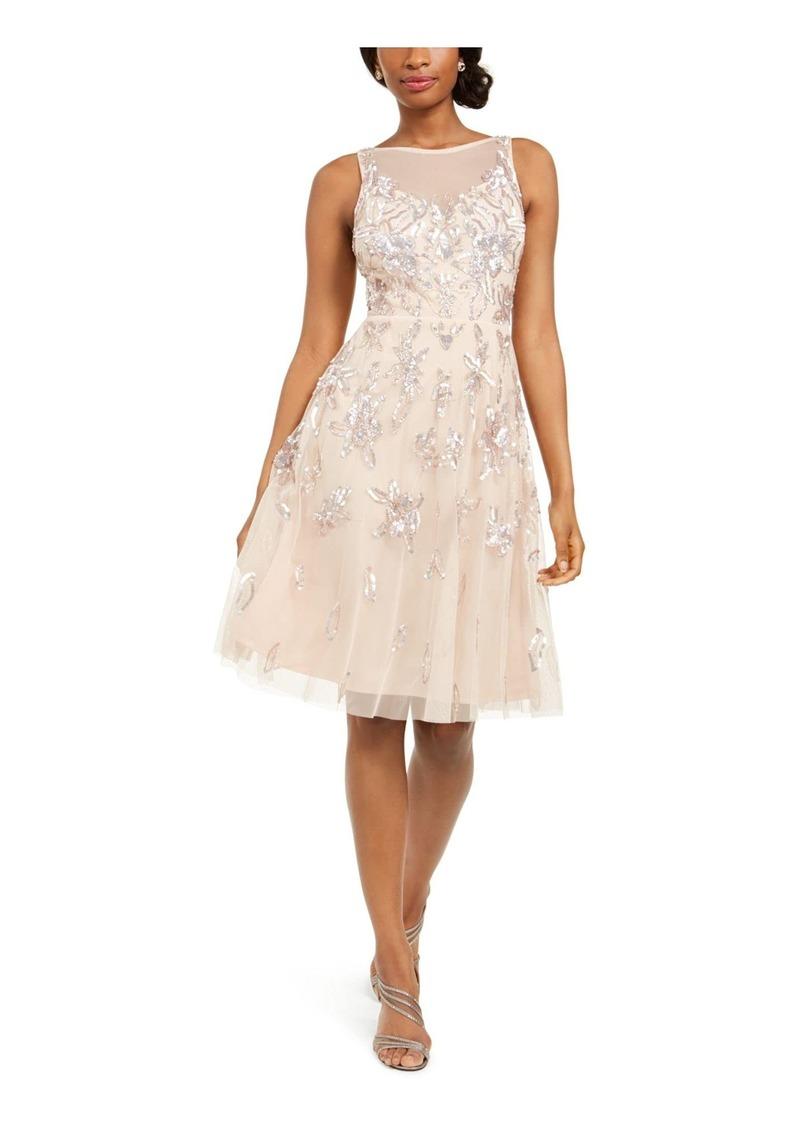 Adrianna Papell Women's Bead Tea Length Dress CHAMPAGNE SAND