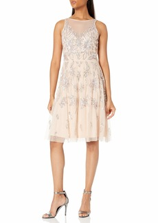 Adrianna Papell Women's Bead Tea Length Dress CHAMPAGNE SAND