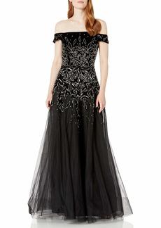 Adrianna Papell Women's Bead Velvet Long Dress