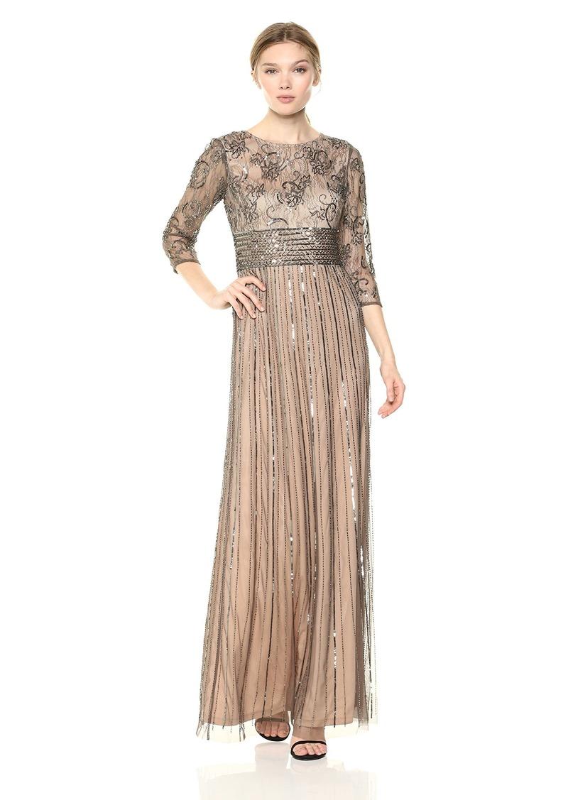 Adrianna Papell Women's Beaded 3/ Sleeve Modified Mermaid Long Dress