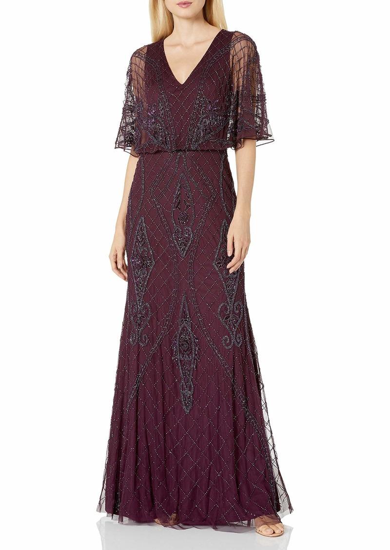 Adrianna Papell Women's Beaded Blouson Gown deep Amethyst