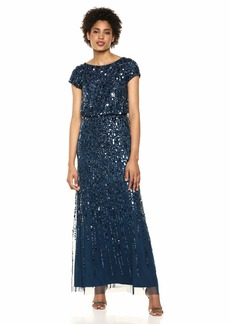 Adrianna Papell Women's Plus Size Beaded Blouson Gown with Short Sleeves