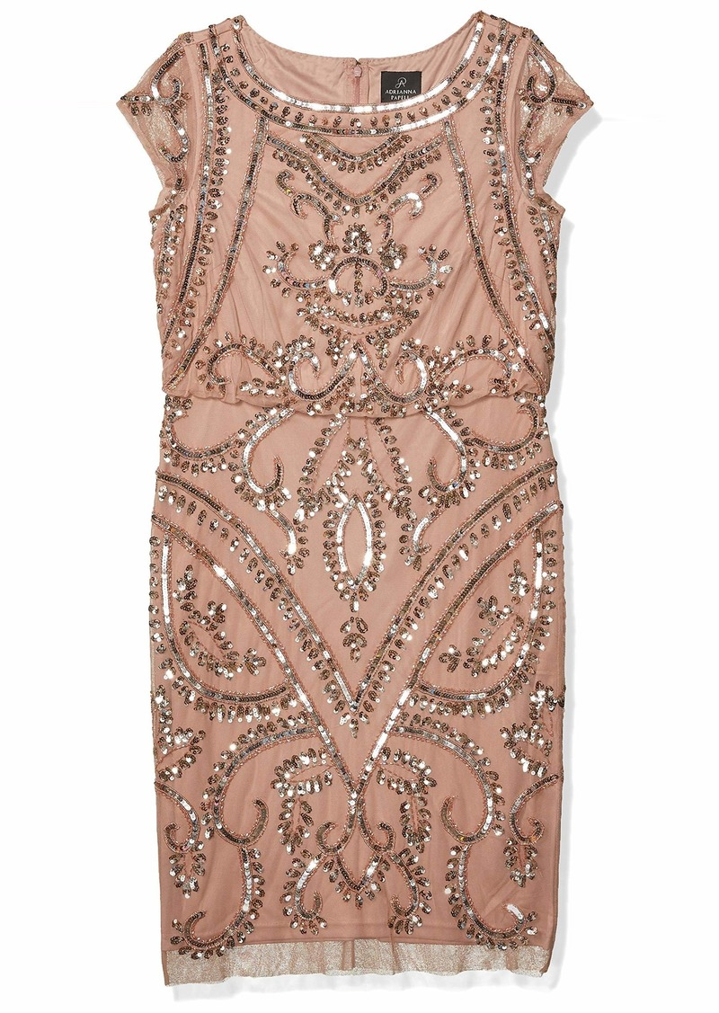 Adrianna Papell Women's Beaded Blouson Sheath Dress ROSE GOLD
