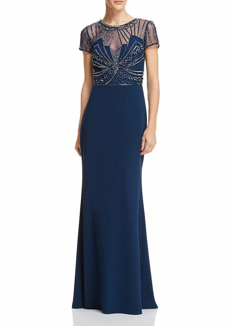 Adrianna Papell Women's Beaded Bodice Dress with Knit Crepe Mermaid Skirt deep Blue