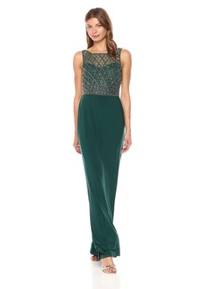 Adrianna Papell Women's Beaded Bodice Gown with Solid Skirt
