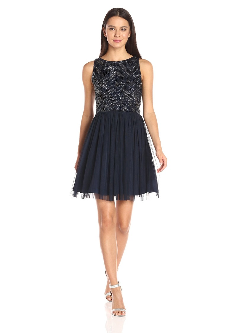 Adrianna Papell Women's Beaded Bodice Mesh Party Dress