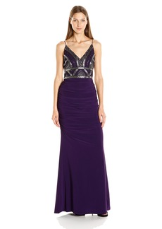 Adrianna Papell Women's Beaded Bodice Spaghetti Strap Gown with Jersey Skirt