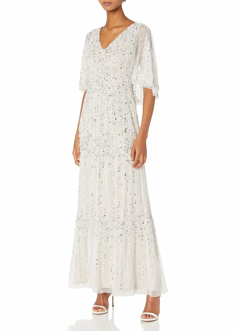 Adrianna Papell Women's Beaded Capelet Gown