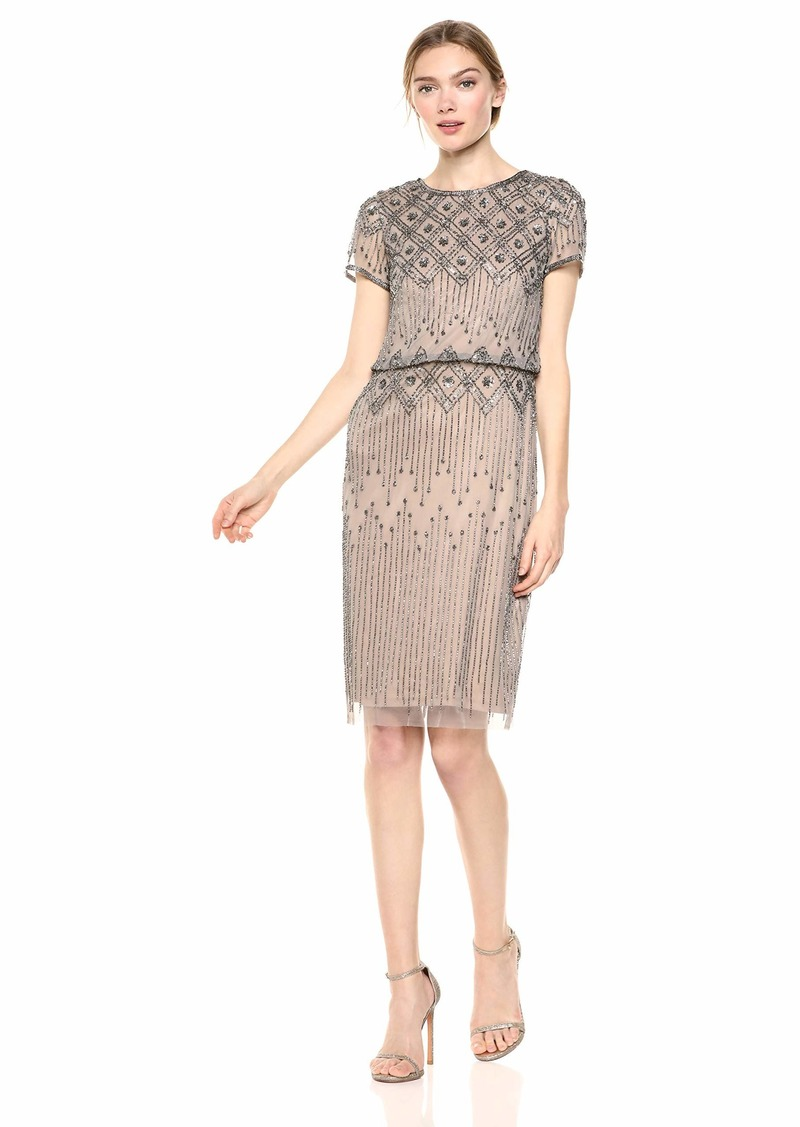 Adrianna Papell Women's Beaded Cocktail Dress with Short Sleeves