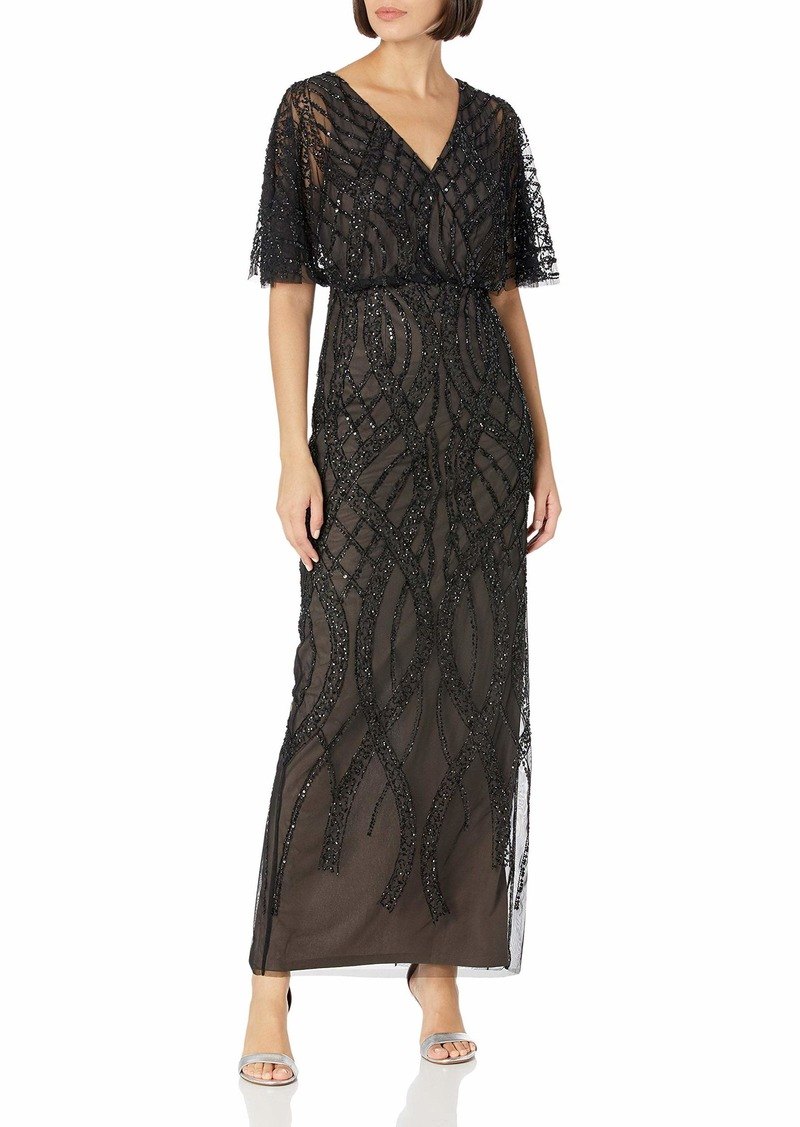Adrianna Papell Women's BEADED COLUMN GOWN BLACK NUDE