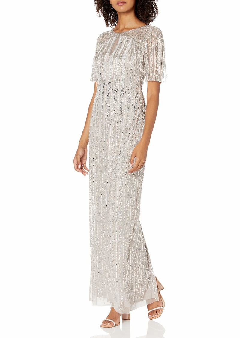 Adrianna Papell Women's Beaded Column Gown MARBLE