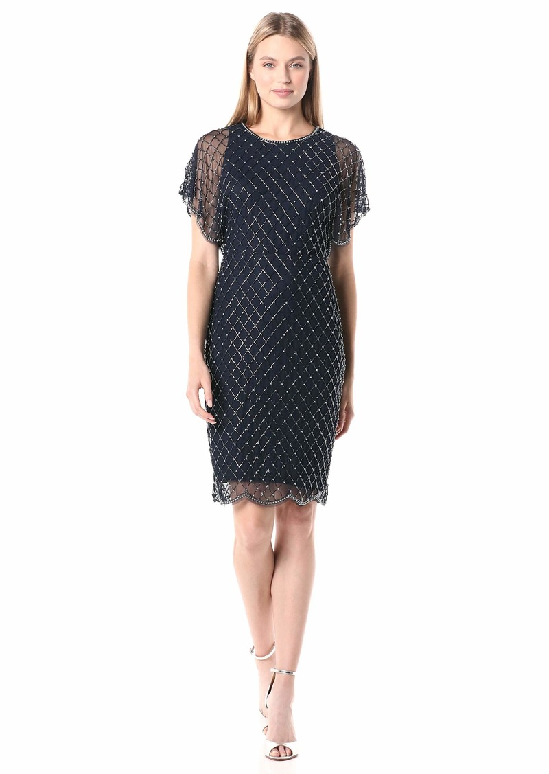 Adrianna Papell Women's Beaded Dolman Short Dress