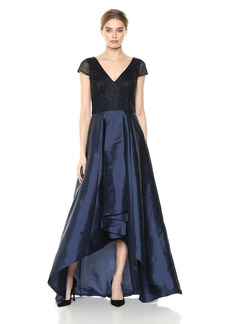 Adrianna Papell Women's Beaded Dress with high-Low Silky Taffeta Skirt