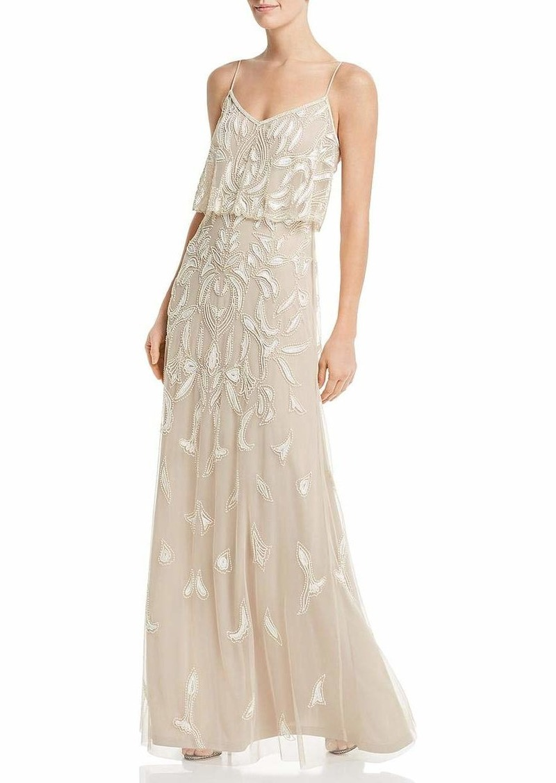 Adrianna Papell Women's Beaded Dress with Popover Bodice