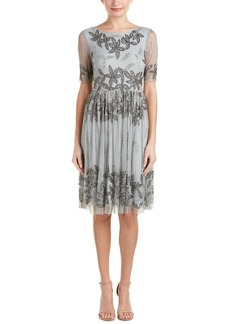 Adrianna Papell Women's Beaded Fit and Flare Cocktail Dress with Sleeves