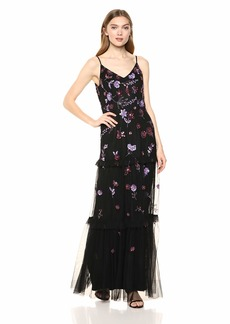 Adrianna Papell Women's Beaded Floral Dress with Tiered Skirt