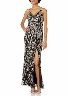 Adrianna Papell Women's Beaded Floral Gown