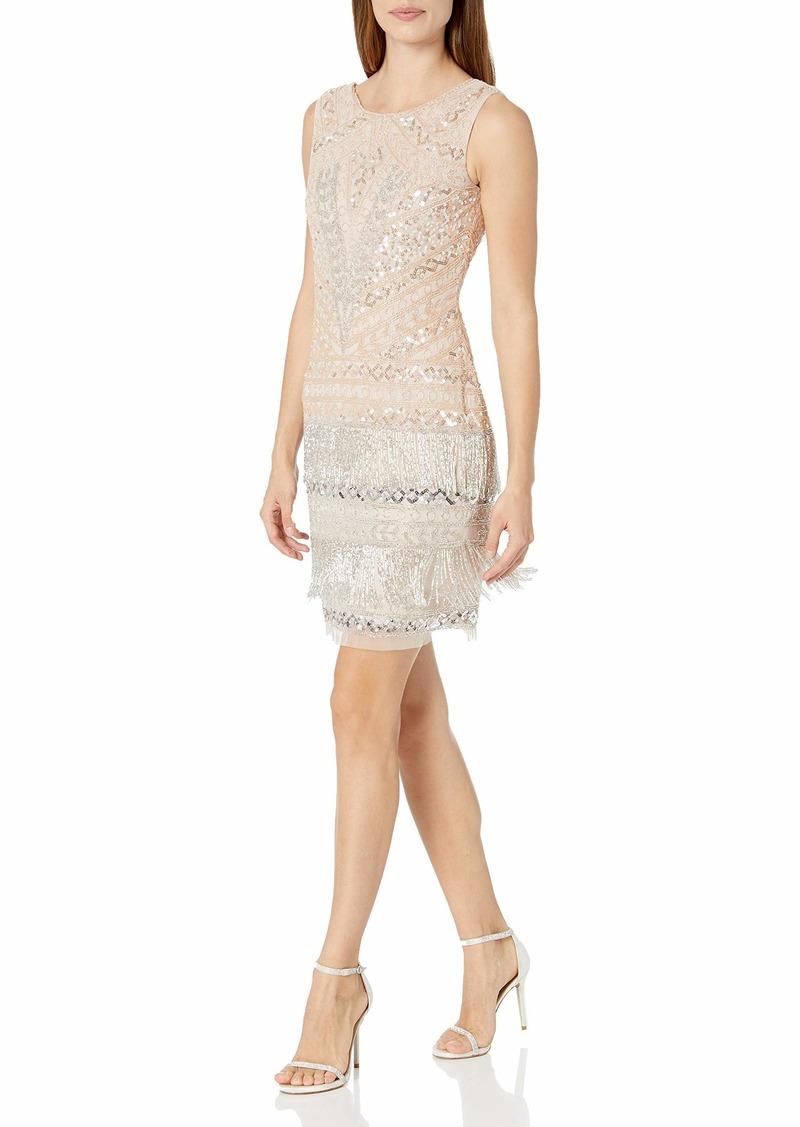 Adrianna Papell Women's Beaded Fringe Cocktail Dress