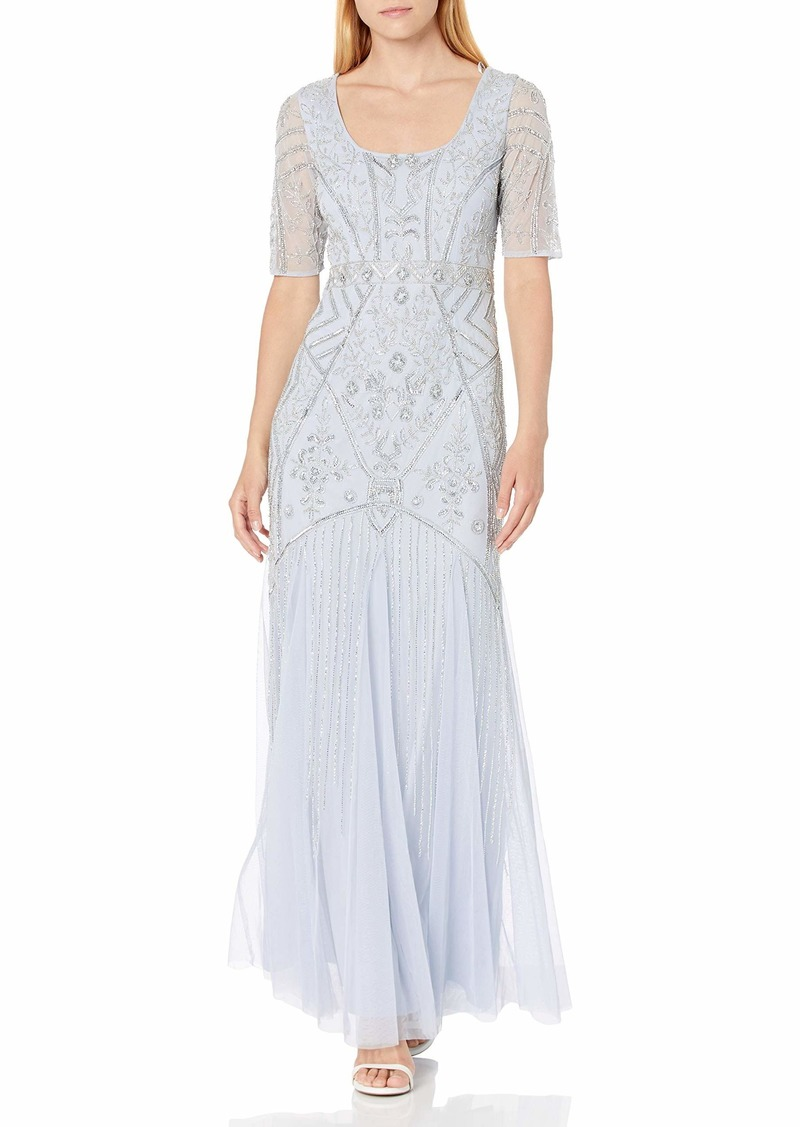 Adrianna Papell Women's Beaded Gown GLACIER