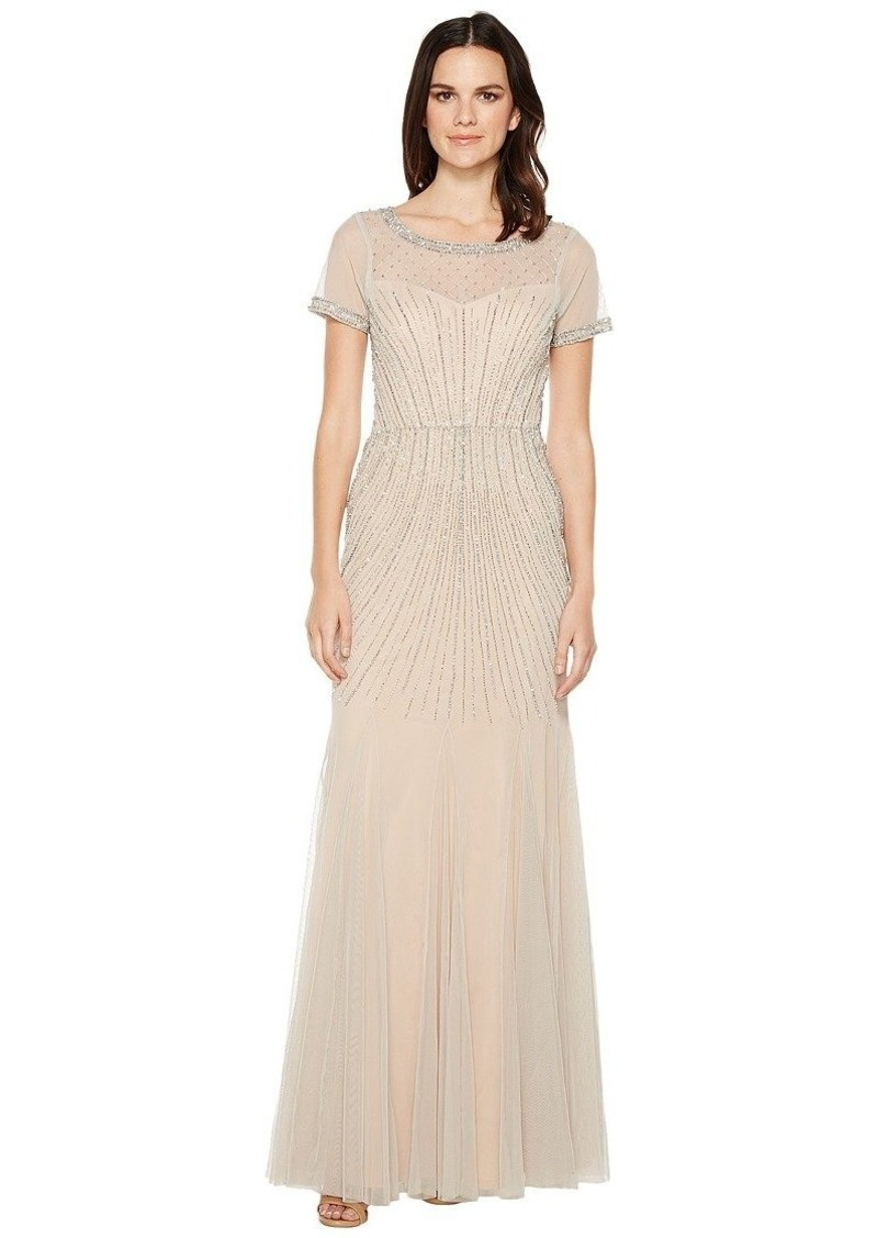 Adrianna Papell Women's Beaded Gown with Godets