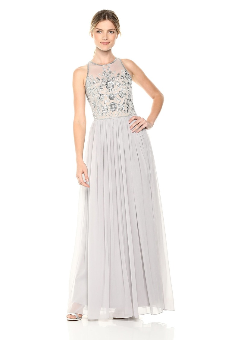 Adrianna Papell Women's Beaded Halter Illusion Bodice Long Chiffon Dress