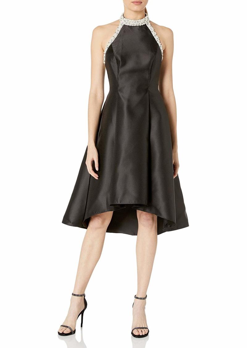 Adrianna Papell Women's Beaded Hi-Low Halter Dress