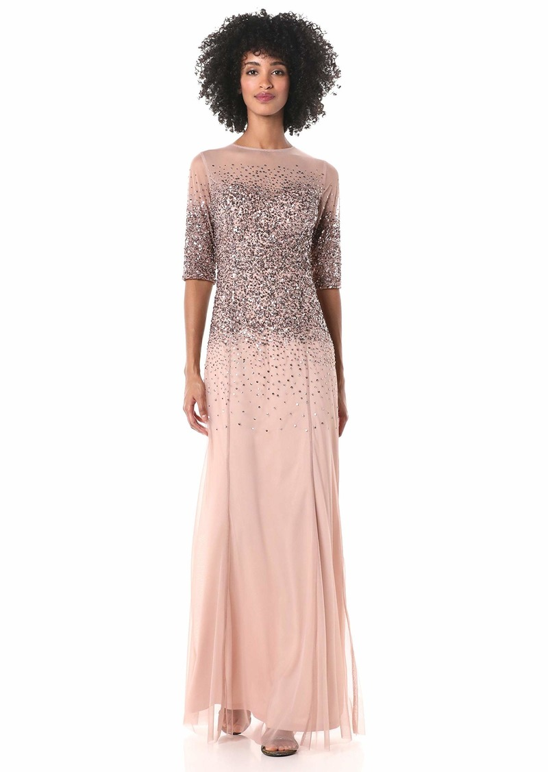 Adrianna Papell Women's Beaded Illusion Gown Dress