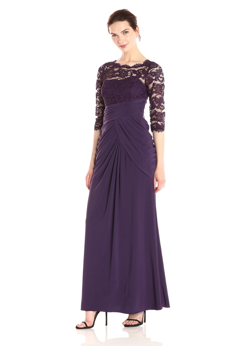 Adrianna Papell Women's Beaded Lace and Jersey 3/4 Sleeve Mob Gown