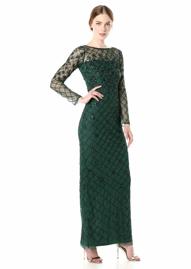 Adrianna Papell Women's Beaded Long Column Gown