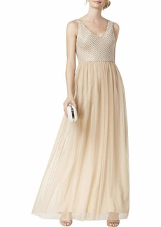 Adrianna Papell Women's Beaded Long Dress with A Full Tulle Skirt