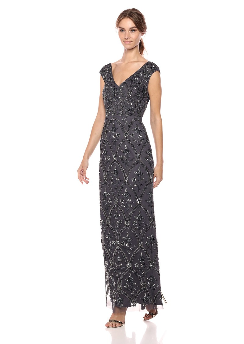 Adrianna Papell Women's Beaded Long Dress with Lacing Details