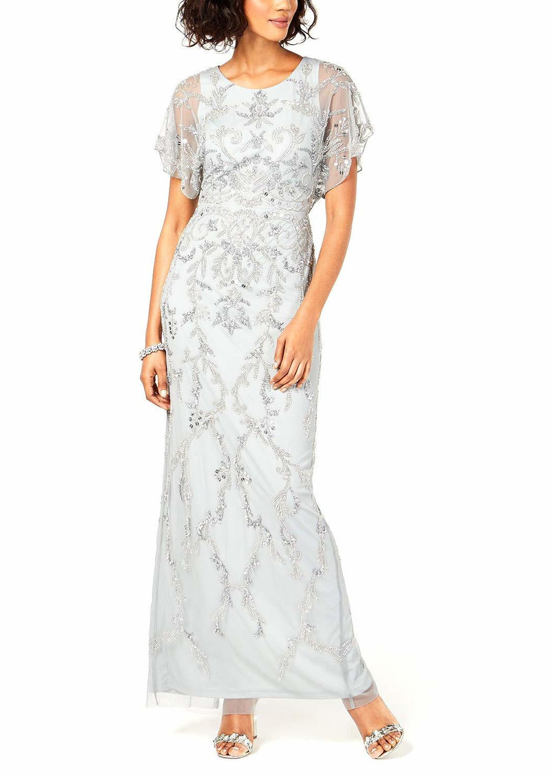 Adrianna Papell Women's Beaded Long Dress with Scallop Edged Sleeve