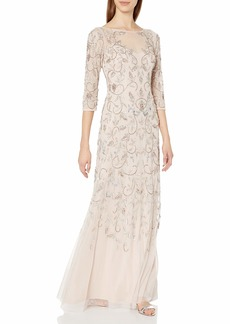 Adrianna Papell Women's Beaded Long Gown with Illusion Neckline
