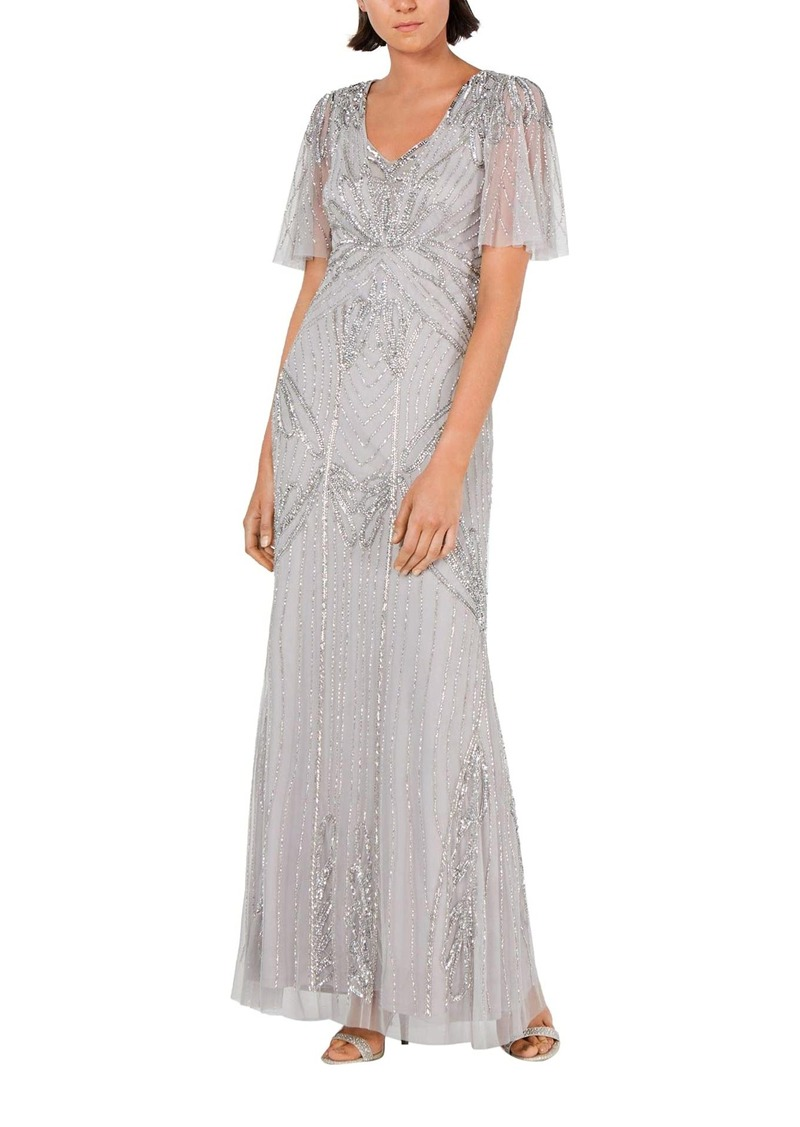 Adrianna Papell Women's Beaded Mermaid Dress with Flutter Sleeves