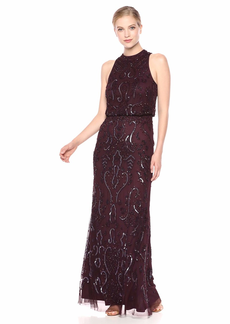 Adrianna Papell Women's Beaded MESH Dress night plum