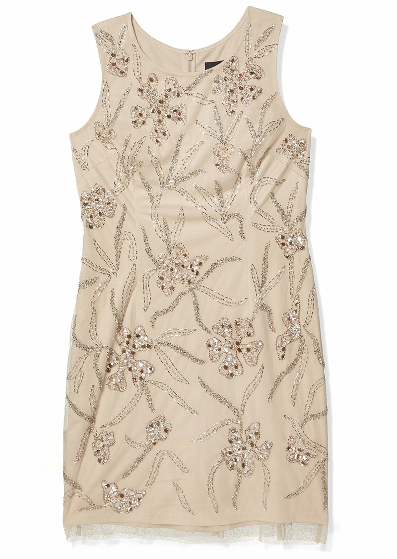 Adrianna Papell Women's Beaded Mini Dress BISCOTTI