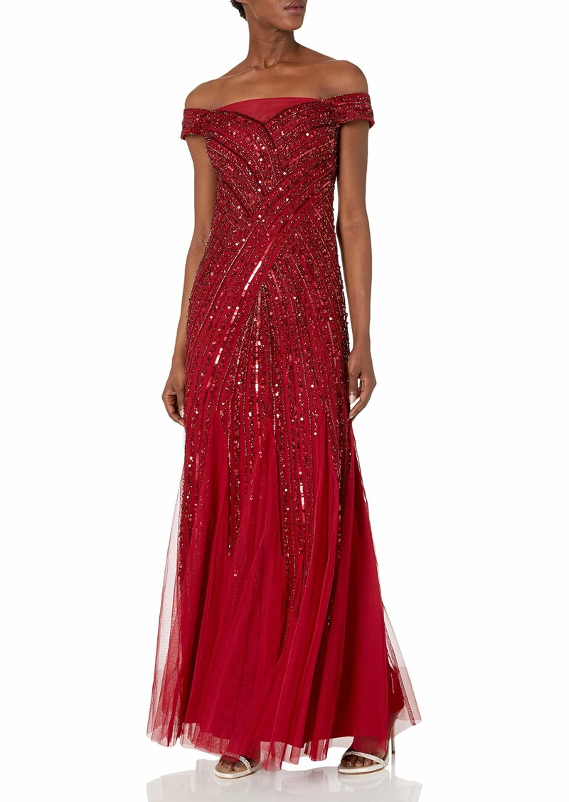 Adrianna Papell Women's Beaded Off Shoulder Gown