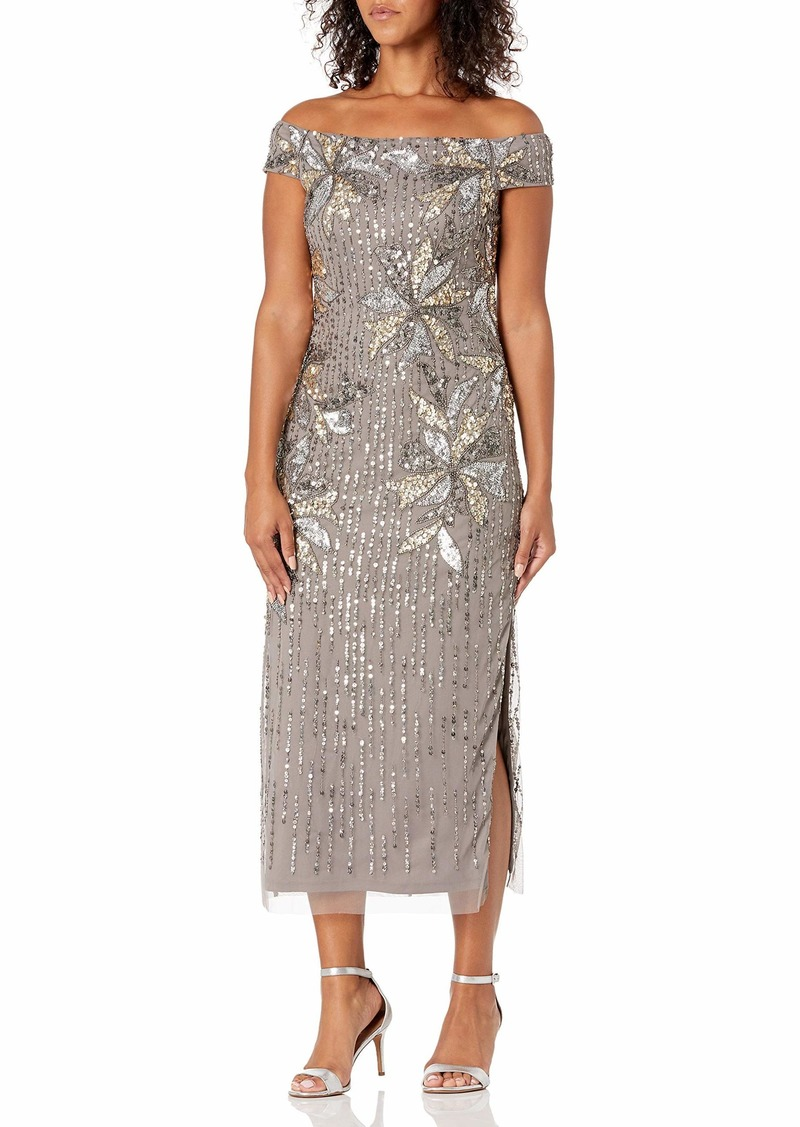 Adrianna Papell Women's Beaded Off Shoulder Gown DEEP Platinum