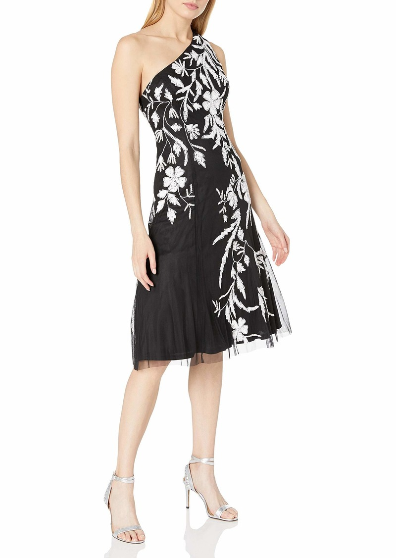 Adrianna Papell Women's Beaded One Shoulder Dress