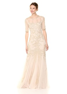 Adrianna Papell Women's Beaded Round Neck Elbow Sleeve Mermaid Long Dress