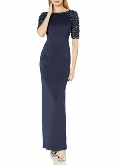 Adrianna Papell Women's Beaded Short Sleeve Stretch Knit Column Gown